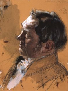 Portrait Mastery - Adolph von Menzel Portrait Study of Maximilian von Schwerin-Putzar, Pencil, watercolor, gouache on toned paper.) Discover The Secrets Of Drawing Realistic Pencil Portraits L'art Du Portrait, Pencil Portrait, Pastel Portraits, Watercolor Portraits, Life Drawing, Figure Drawing, Adolf Von Menzel, Pink Vintage, Toned Paper