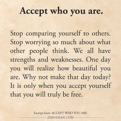 Excerpt from: Accept who you are