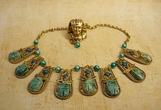 Vintage deco Egyptian revival necklace & Ring scarabs and enamel pharaoh head Made in France