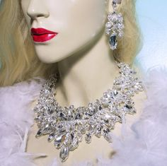 Clear Massive Necklace Earring Set Rhinestone by BizarreJewels