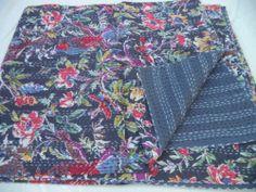 Queen Kantha Quilt Floral Cotton Reversible New Throw Sari kantha Quilt