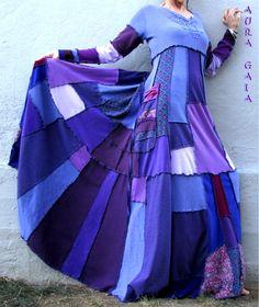 AuraGaia's Sweet Dreams~ Poorgirl Boho Tattered Upcycled Long Dress M-1X Plus