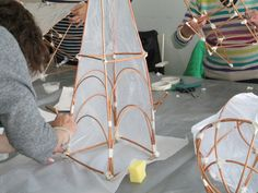 Students making Willow Lanterns