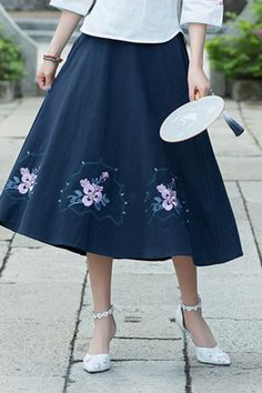 9e38562da9238d Simple navy Cotton skirt2019 Photography A line skirts embroidery Vestidos  De Lino Summer skirt. Linen DressesCotton DressesOversized DressPlus Size  ...