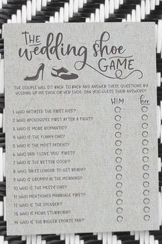These are some unique bridal shower game ideas! For Adrian's Shower? Grey Wedding Shoes, Shoe Game Wedding, Wedding Games For Guests, Wedding Shower Games, Wedding Day, Dream Wedding, Bride And Groom Wedding Games, Wedding Registry Ideas, Fun Wedding Reception Ideas