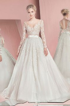 Stunning ball gown wedding dress with lace long sleeves. You don't want to miss any dress from the fabulous Zuhair Murad Spring 2016 bridal collection.