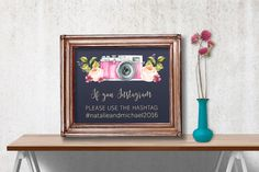 Printable Wedding Hashtag Sign, Wedding Instagram Sign, Floral Instagram Sign, Printable Hashtag Sign, Printable Instagram Sign, Digital - pinned by pin4etsy.com