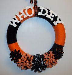 Cincinnati Bengals Who Dey Yarn Wreath