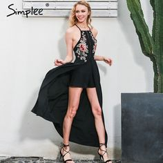 Simplee Eleganter body frauen jumpsuit Backless stickerei combishort femme chritsmas strampler sommer overalls trikot