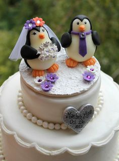 Penguin wedding cake topper, love birds with snow base and banner, winter wedding