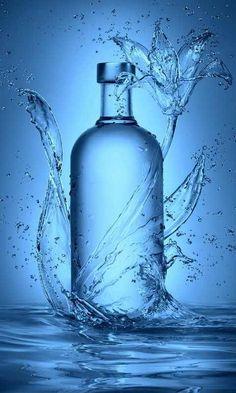 Blue bottle water art