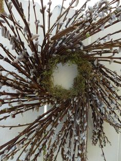 Pussy Willow Wreath    Pussy Willows  Willow Wreath   Natural Wreath  Hand Crafted Wreath  Rustic Wreath by donnahubbard on Etsy