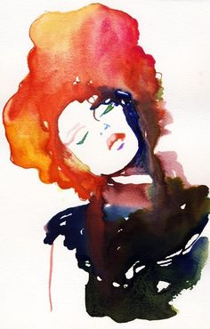 Watercolor Fashion Illustration Print Model by silverridgestudio