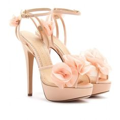 Charlotte Olympia Fleur Platform Sandals With Organza Floral... (5 570 SEK) ❤ liked on Polyvore featuring shoes, sandals, heels, zapatos, high heels, blush, ankle strap sandals, embellished sandals, ankle wrap sandals ve high heel platform sandals