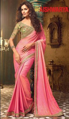 There is always place for just one more pink saree in every girls wardrobe! Buy designer saree online - http://www.aishwaryadesignstudio.com/tiptop-pink-silk-party-wear-saree