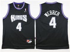 Sacramento Kings  4 Chris Webber Throwback Black Jersey efc82eed0