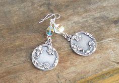 Silver Leaf Earrings Gypsy Simple Earrings Crystal by TeslaDesigns, $22.00