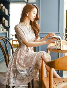 StyleOnme_Pearl Floral Lace Short Sleeve Flared Dress #pearl #gold #beige #dress…