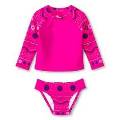 55e21bbb3a Baby Girls  2-Piece Floral Swim Rash Guard Set Pink - Circo™
