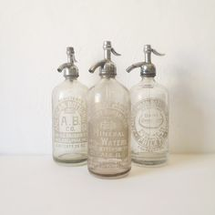 3 Antique Seltzer Bottles by HeritageAlliance on Etsy, $90.00