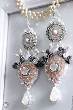 Купить Серьги с кристаллами и жемчугом Сваровски. - бледно-розовый, белый, серебрянный, серьги, длинные серьги