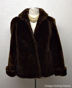 40s Faux Fur Lamb Coat Sheared Mouton Lamb Fur Coat Vintage Dark Brown Cerbotai Dessin Jacket with Eiffel Tower BR-100