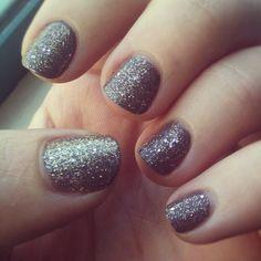 Glittered grey nails.  (Sally Hansen Insta-dry Slick Slate base coat and Sally Hansen Gems Big Money topcoat)  [Photo by baadumching • Instagram]