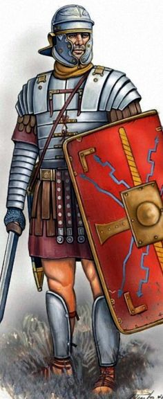 Roman Legionaire, Dacian War, (artist unknown). Help eliminate poor pinning! If you know the artist and can supply a link, please update this pin. Thank you!                                                                                                                                                                                 Mais