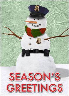 bb6bd1a9684 Snowman Police Christmas Card (Glossy White)  2018