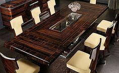 EXTENDING DINING TABLE IN MAKASSAR EBONY GLASS INSERT