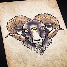 Beeeeeh. #art #artist #artwork #tattoo #tattooflash #goat #thirdeye #satan #devil #evilgoat #ahah