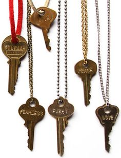 The Giving Keys is a remarkable organization which begins by you buying a key and choosing one word to be engraved on it. Homeless people are payed to engrave the keys then they are sent to you. The only catch is that at some point in your life you must give the key to someone else. Someone who the message adheres to, hence the giving keys :) love love love this and Caitlin Crosby