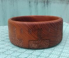 Small Ginnur Hand Carved Offering Bowl - refinished teak