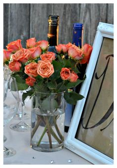Beautiful flowers and photos from an outdoor dinner party