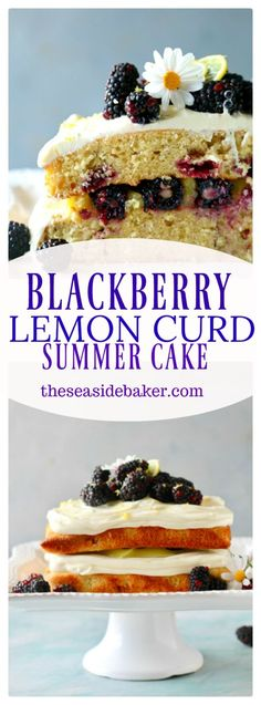 Vanilla lemon infused cake studded with fresh juicy blackberries and layered with fresh lemon curd and cream cheese frosting!