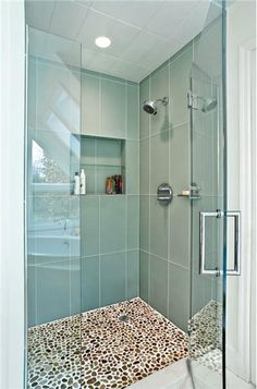Large tiles. Relaxing Transitional Bathroom by Mimi Fong.