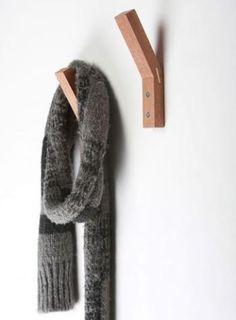 Storage: Hang Out Hook by David Zachary - Remodelista Hanger Hooks, Coat Hanger, Wall Hanger, Towel Hooks, Coat Racks, Towel Rail, Hangers, Wood Hooks, Wood Design