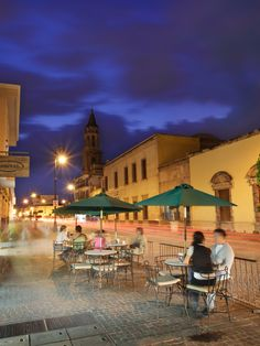 An open air cafe in the historic downtown of Aguascalientes, Mexico.
