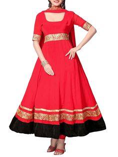 Marvelous Red Embroidered Anarkali Salwar Kameez. #partywearanarkali #embroideredanarkali #designeranarkali #anarkalisuit