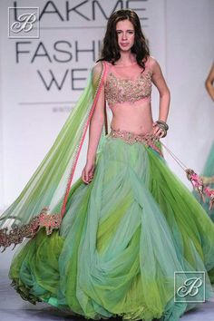 Kalki Koechlin in a green Anushree Reddy lehenga