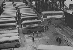 Ex London buses being shipped to Ceylon (now Sri Lanka) at a London dock in the 1950's. by Ledlon89, via Flickr