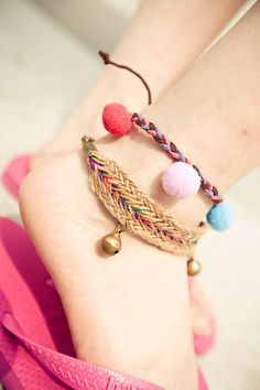I don't like the pof poms but the bell one is cute. / bell anklets with pom poms