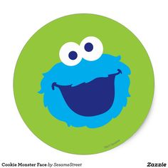 Cookie Monster Face Classic Round Sticker