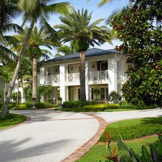 *** like brick edging of path** West Indies Estate - tropical - exterior - miami - Affiniti Architects West Indies Style, British West Indies, Casas California, Palm Trees Landscaping, British Colonial Decor, Caribbean Homes, Colonial Architecture, Tropical Houses, Plantation