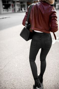 Jacket: tumblr red leather jeans black jeans boots black boots ankle boots bag black bag burgundy