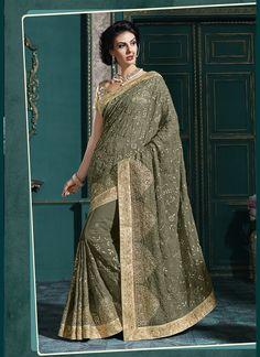Enthralling Green Georgette Classic Designer Saree