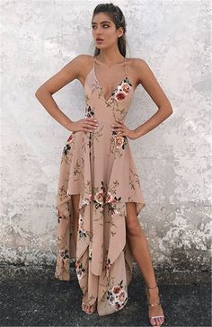 Floral Printing Women Summer Sexy Long Dress Deep V Neck Halter Style Boho Long Maxi Dress Party Beach Dress Floral Sundress Pretty Dresses, Sexy Dresses, Casual Dresses, Fashion Dresses, Summer Dresses, Chiffon Dresses, Beach Dresses, Floral Fashion, Long Dresses