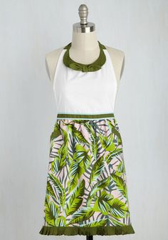 Have a Trick Up Your Leaves Apron - Green, Pink, Floral, Daytime Party, Vintage Inspired, Spring, Summer, Gals, Hostess, White, Pockets, 50s, HP Featured