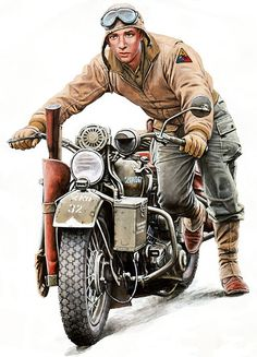 US Soldier pushing bike Motorcycle Posters, Motorcycle Art, Bike Art, Motorcycle Types, Moto Bike, Harley Bikes, Harley Davidson Motorcycles, Motos Retro, David Mann Art