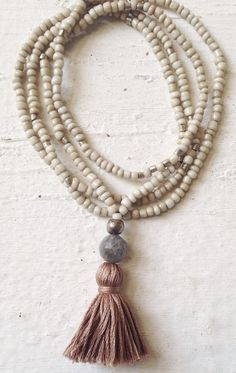 Image of Love Bead Necklace - Soft Cream Beads, Labradorite, Tassel #100263